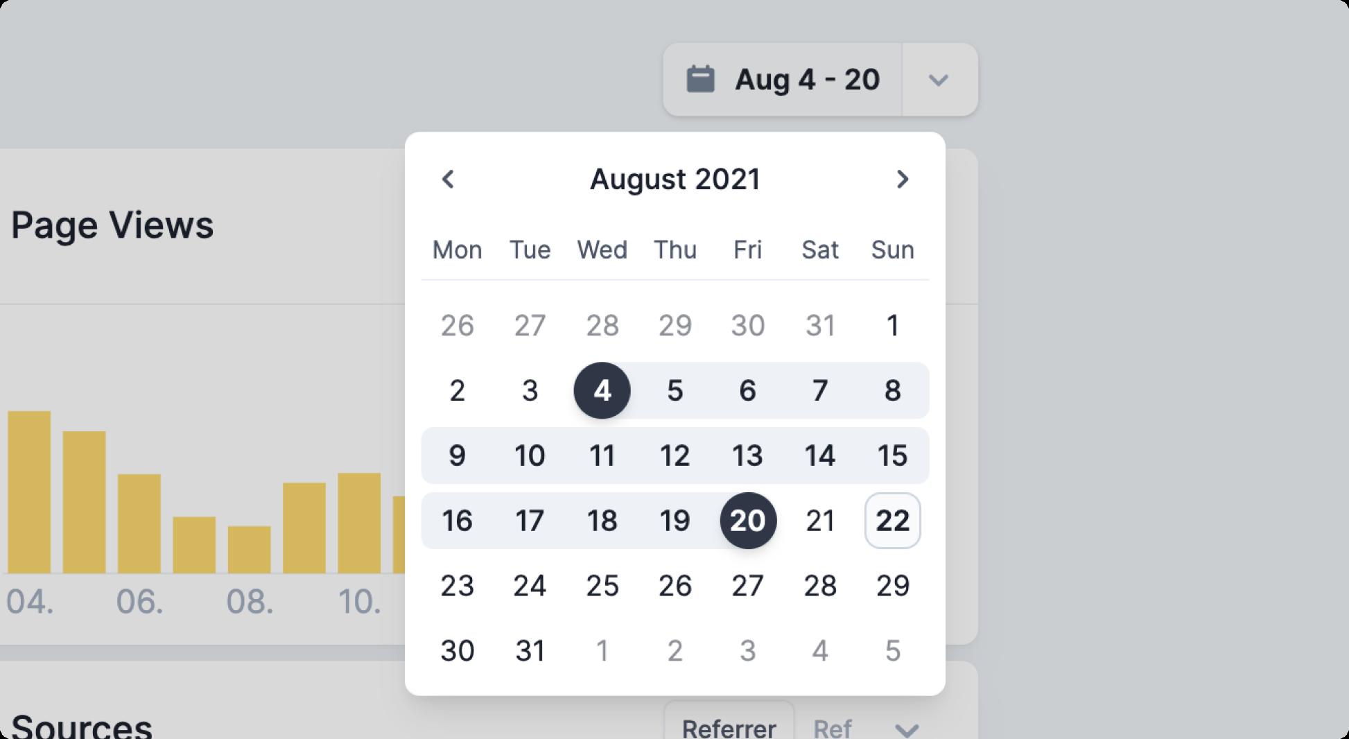 Screenshot of the new date range picker