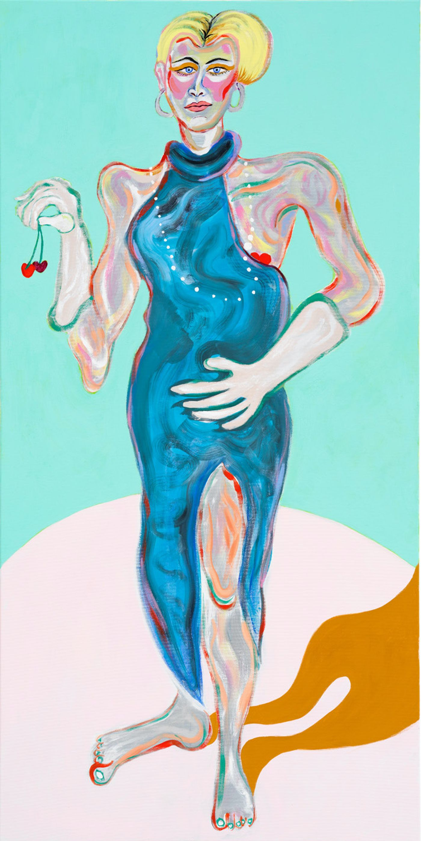 Image of Sveta Dancing with Cherries, 2020: Gouache and acrylic on canvas