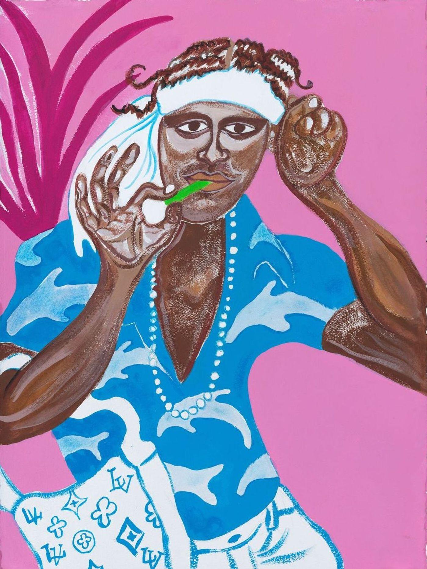 Image of Kamau, 2020: Gouache on paper