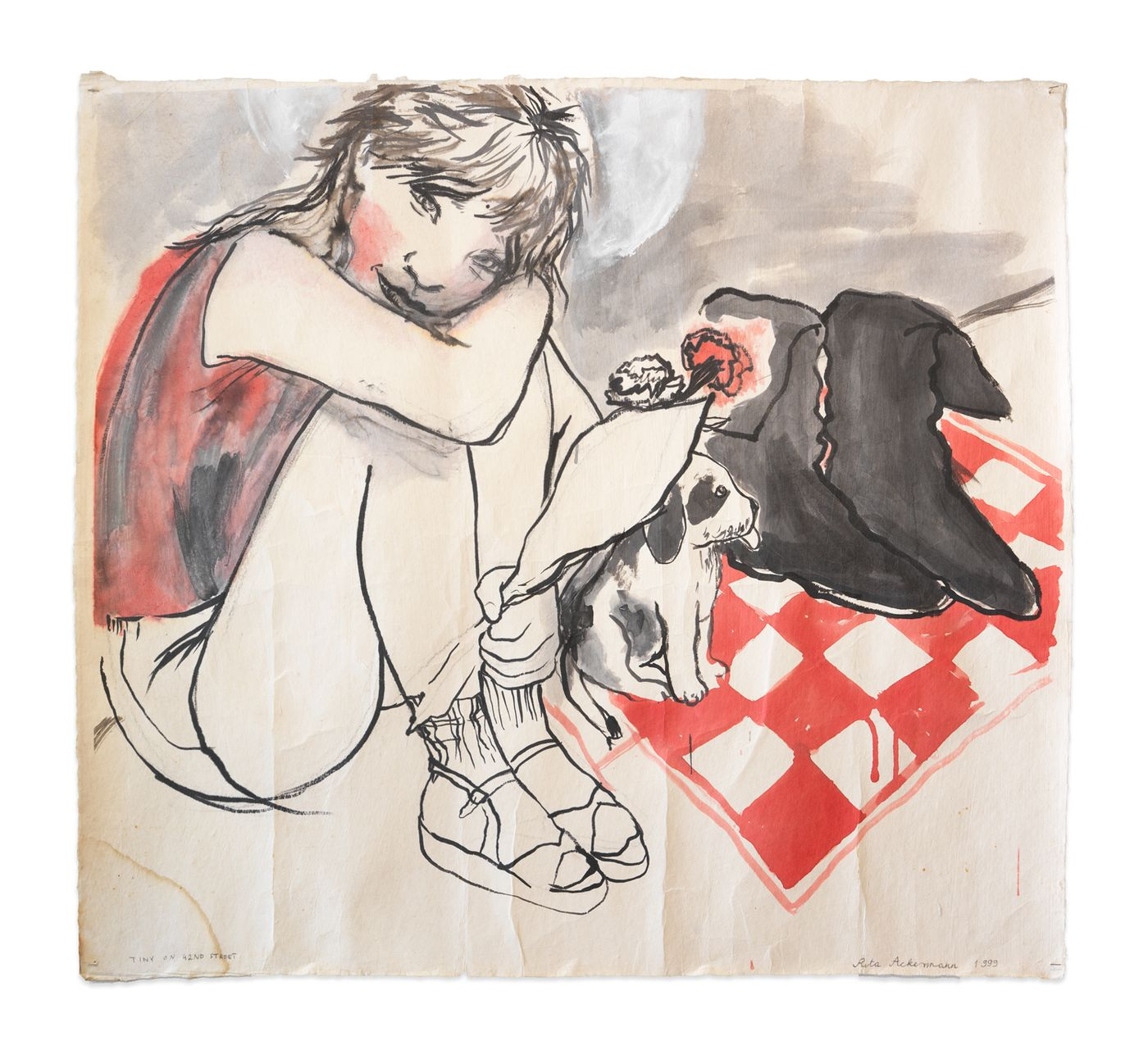 Rita Ackermann, Tiny on 42nd St., 1999. Acrylic ink on Japanese paper, 34.5 x 37.5 in (87.6 x 95.3 cm).
