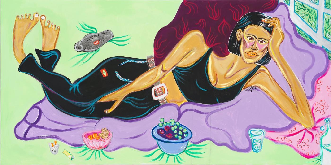Image of By the Spree with Kaya, 2020: Acrylic, acrylic gouache, gouache on canvas