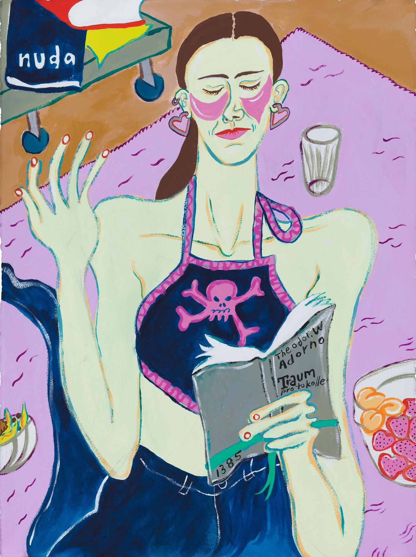 Image of Donnna Translating Adorno's Dream Journal In Situ, 2020: Gouache on paper