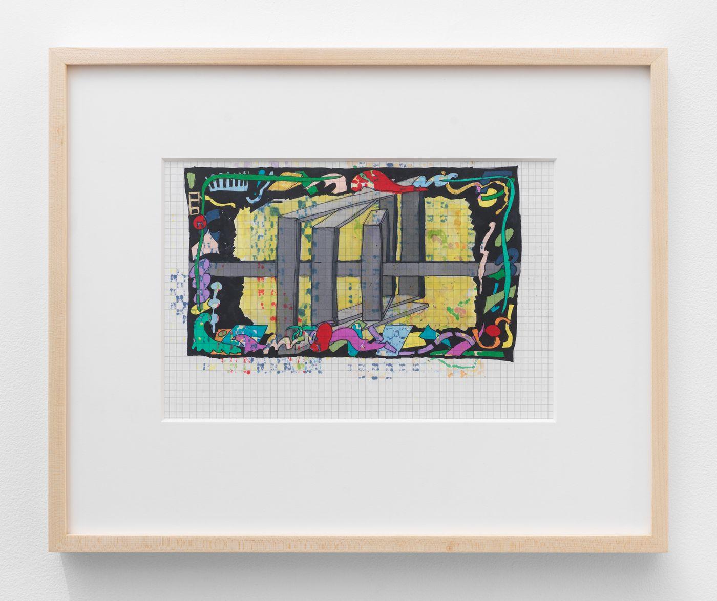 Olivia van Kuiken, Painting Plan, 2021. Ink on paper, Framed: 14.6 x 18 in (37.1 x 45.7 cm).