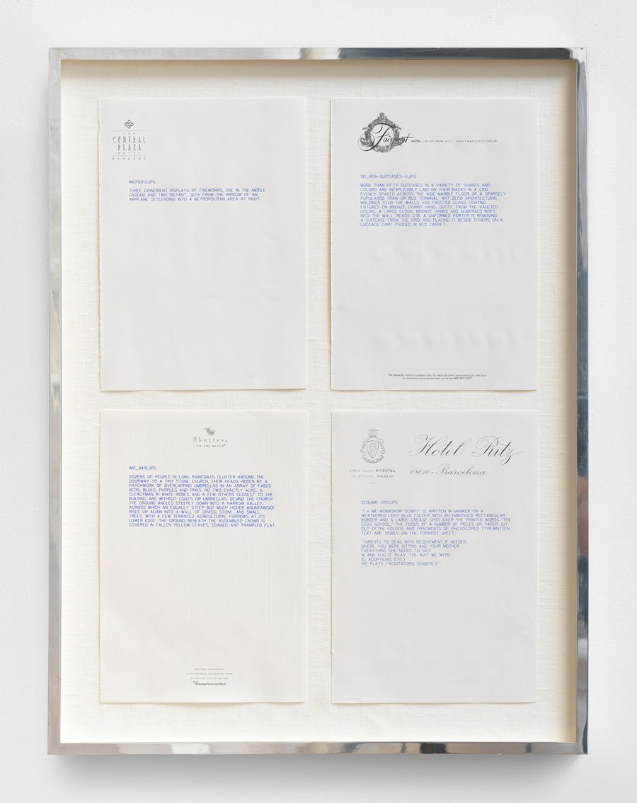 Kevin Zucker, No Hotel, 2014. Ballpoint pen on pages from Martin Kippenberger's No Drawing No Cry 4 drawings, each 8.3 x 11.7 in, Framed: 28.5 x 21.5 in (72.4 x 54.6 cm).