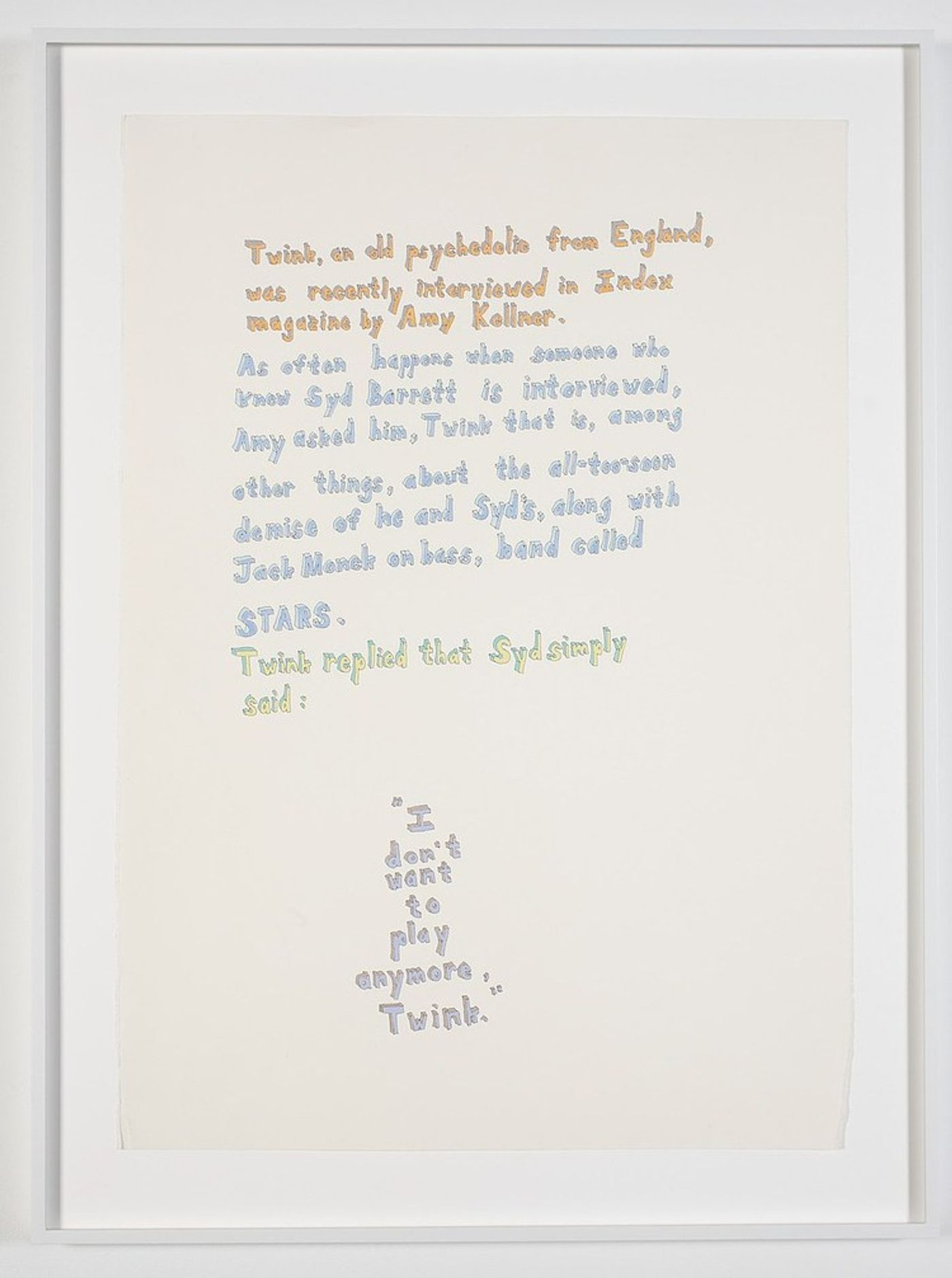 Richard Aldrich, I Don't Want To Play Anymore, Twink, 2000. Acrylic and pen on paper, Unframed: 29 1/4 x 20 3/4 in (74.3 x 52.7cm), Framed: 33 7/8 x 25 3/8 x 1 3/8 in (86 x 64.5 x 3.5cm).