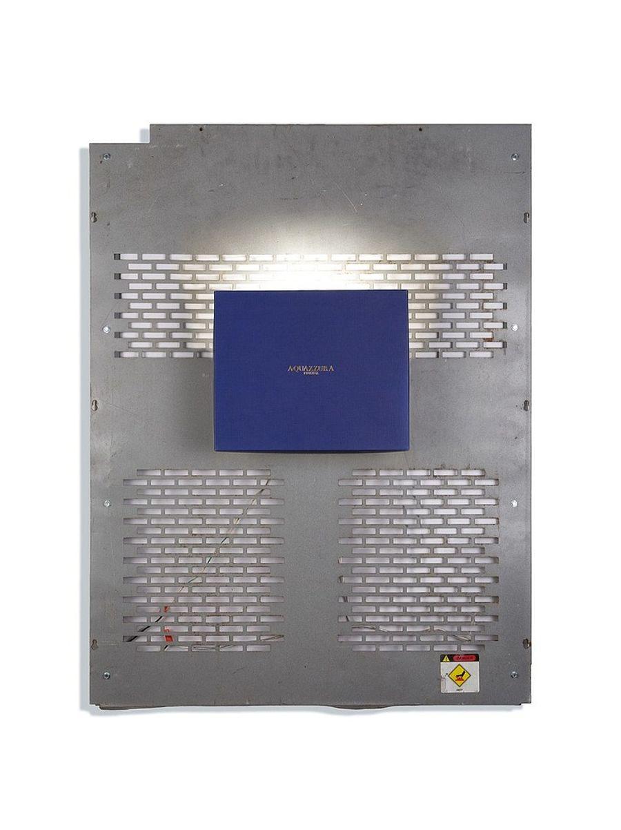 Aki Sasamoto, Shoebox Wall Sconce (Aquazzura Firenze), 2016. Shoebox lid, backboard of a used laundry machine, wall sconce, wood, LED light bulb and push button switch, 32 x 26 x 5 1/2 in (81 x 67 x 14cm).