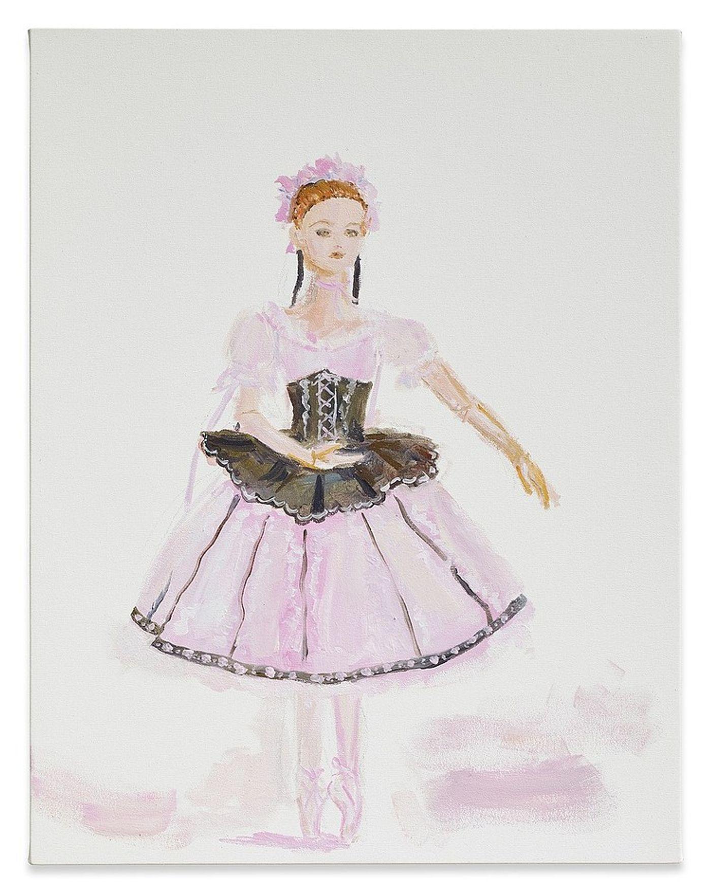 Karen Kilimnik, Silesian princess ballerina, 2018. Water soluble oil color on canvas, 20 × 16 in (50.8 × 40.6 cm).