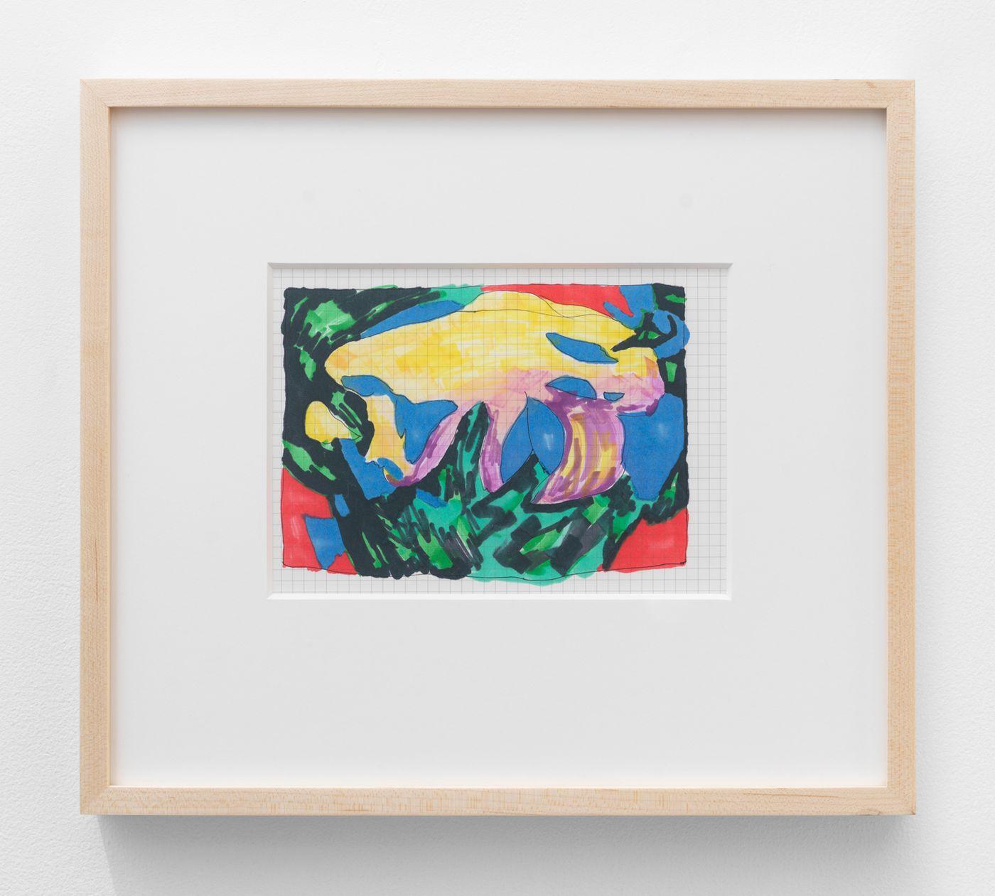 Olivia van Kuiken, Painting Plan, 2021. Ink on paper, 13 x 14.5 in (33 x 36.8 cm).