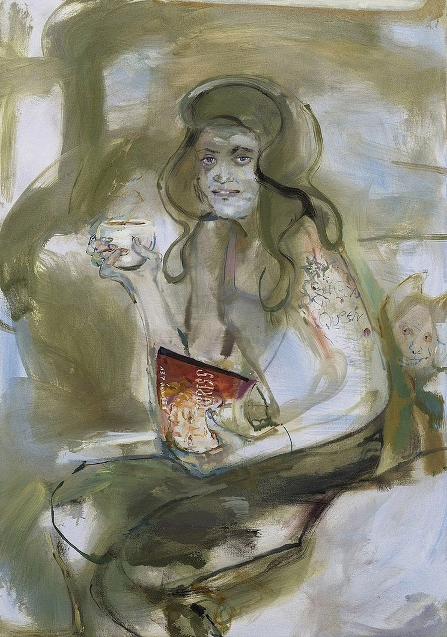 Angela Dufresne, Queen Research-Caterina Sforza and Coffee, 2018. Oil on canvas, 40 x 28 in (101.5 x 71 cm).