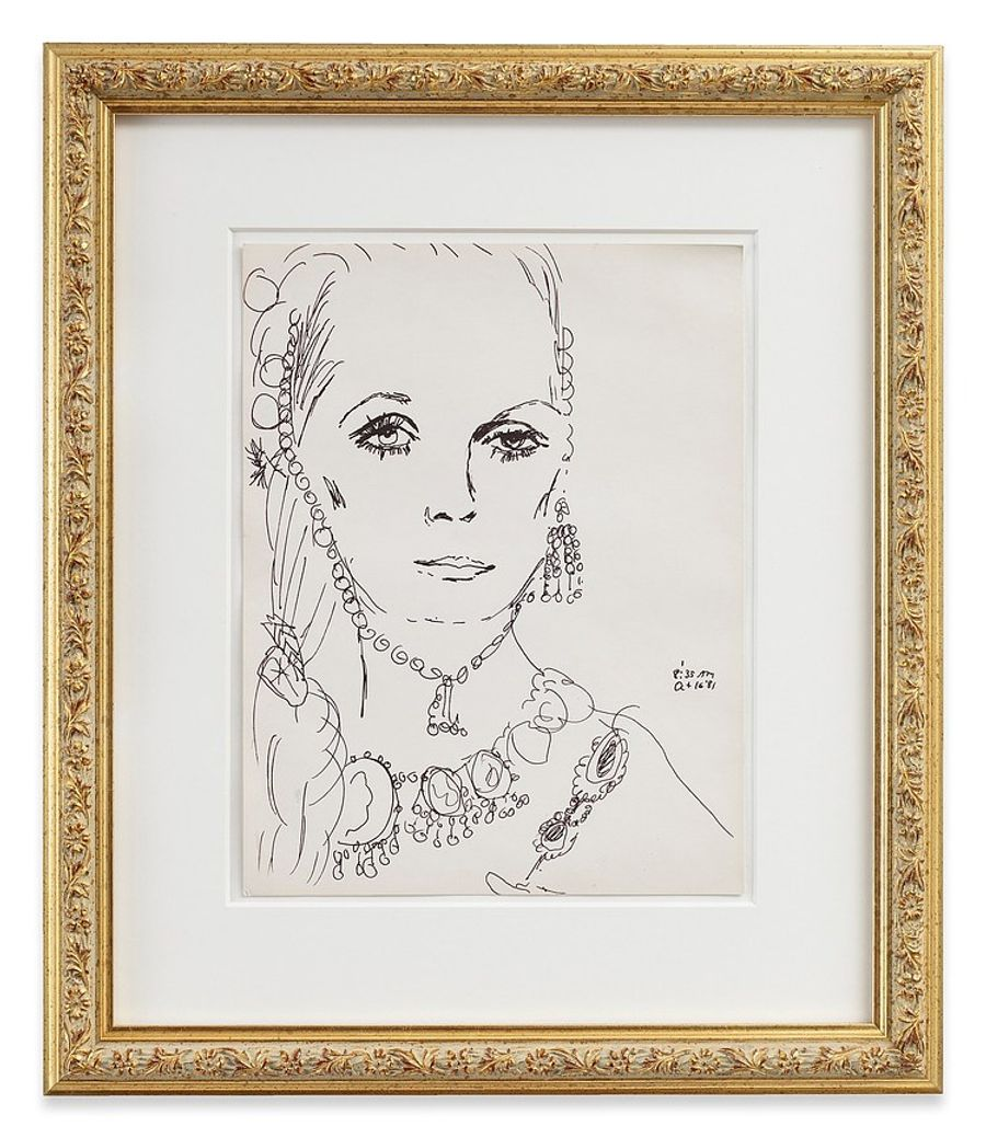 Karen Kilimnik, lots of jewelry + eyelashes - must be Elizabeth Taylor, 1981. Ink on paper, 11 x 8.5 in (27.9 × 21.6 cm).