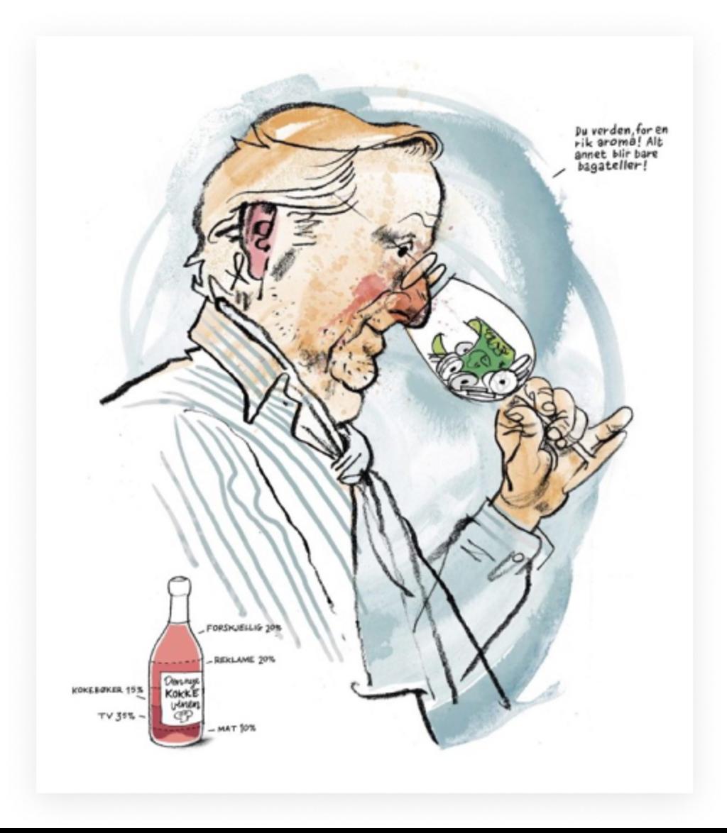 Bjørn Brochmanns illustrasjon av Hellstrøm fra D2-saken «Rik på smak». Faksimile: D2/Dagens Næringsliv