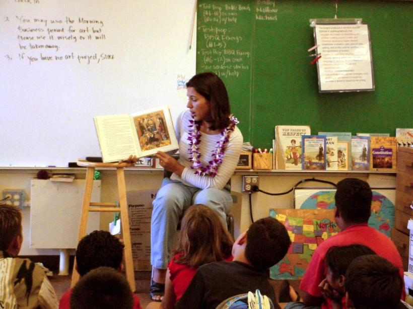 Teaching to a classroom of Elementary students, 2002.