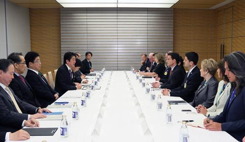 Meeting with Prime Minister Shinzo Abe of Japan, 2015.