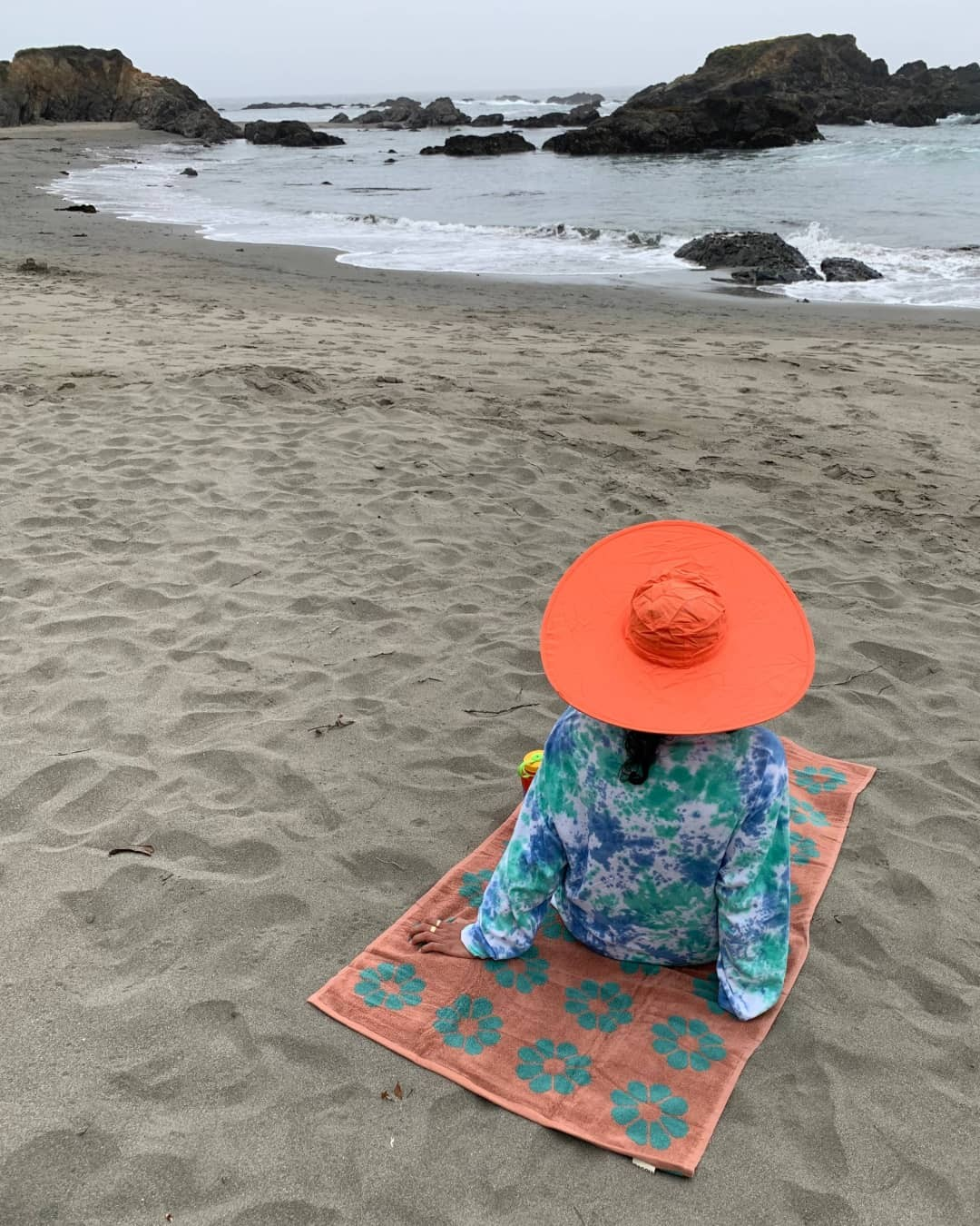 A woman on the beach wearing a red sun hat