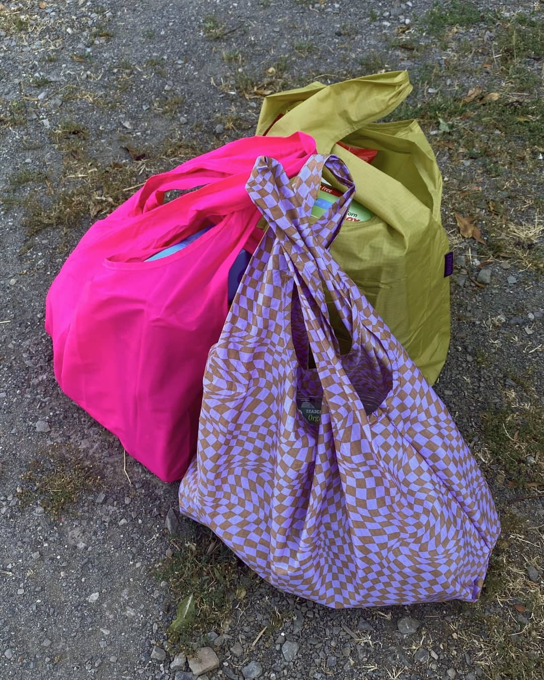 Three reusable bags placed on the ground