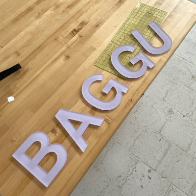 baggu letters on a wooden table
