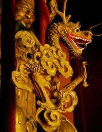Golden dragon on wall