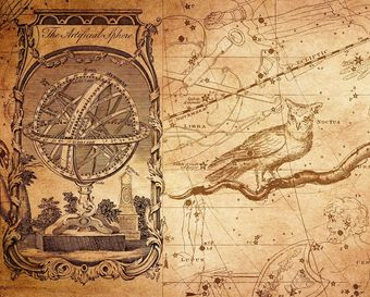 An ancient astrology map with an astrolabe and owl