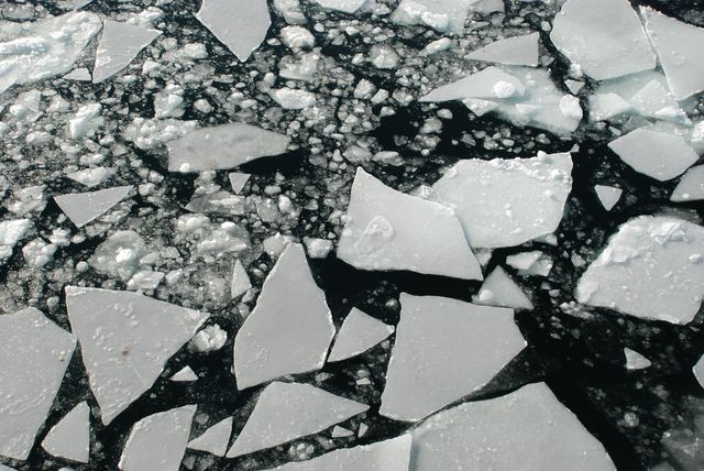 cracking ice in river
