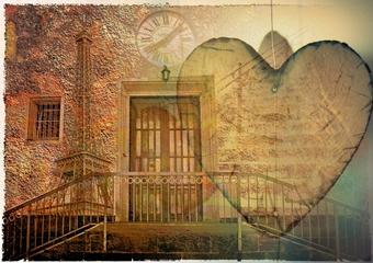 Door with surreal clock tower and heart