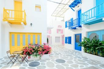 Patio of house in the greek islands