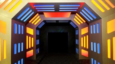 Tunnel with neon lights