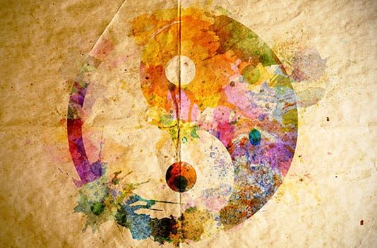 Ying Yang floral watercolor paper background