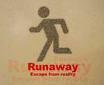 Stick figure man in running pose with words Runaway