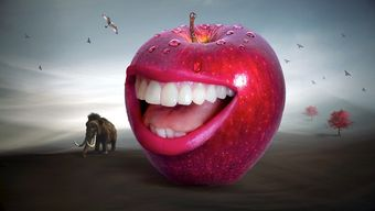 Surreal teeth in apple with elephant