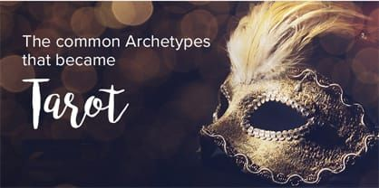 Opera Mask with feathers and words Common Archetypes of Tarot