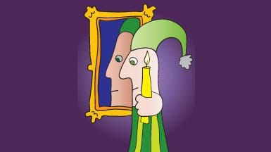 Cartoon character with nightcap hat and candle with reflection in mirror