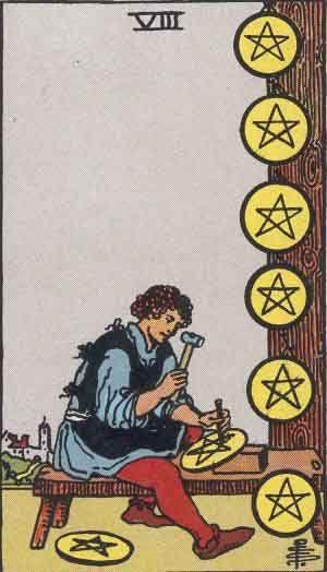 Eight of Pentacles Tarot Card