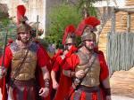 Roman guards in uniforms walking