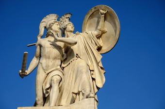 Mars statue with athena in battle