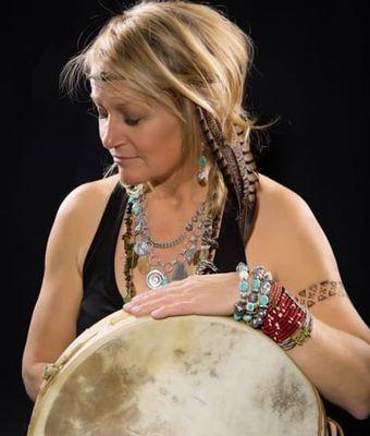 Kari Hohne holding drum
