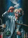 mad scientist working in lab holding beaker with smoke coming out