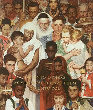 Gathering of multicultural people and kids with words do onto others as you would have them do unto you