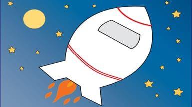 Rocket ship in the stars
