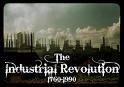 City skyline with smokestacks emitting smoke and hazy sky with workds the industrial revolution