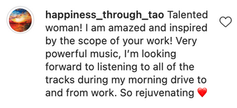 Instagram message about Kari Hohne music
