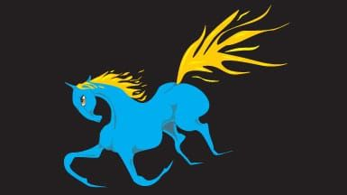 Blue horse with yello mane and tail like fire