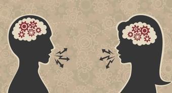Man and woman talking diagram