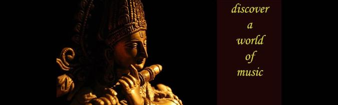Ancient statue playing flute with words discover a world of music