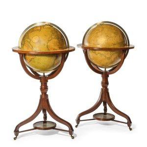 """A Fine Pair of Cary's 18"""" Floor Standing Library Globes"""