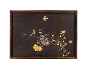Important Japanese Mixed Metal Iron Panel by Hagiya Katsuhira 1804-1886