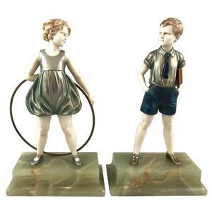 Hoop Girl + Sonny Boy – Pair of Art Deco bronze and ivory figures by Ferdinand Preiss