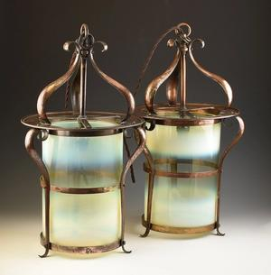 Large pair arts and crafts ceiling lanterns C.1900