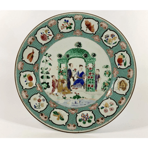 Chinese porcelain plate, 'Arbor' pattern, Cornelis Pronk, c.1738