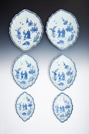 Very Rare Set of Three Graduated Pairs of Chinese Export Porcelain Leaf-shaped Dishes