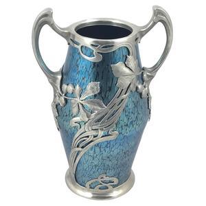 Art Nouveau iridescent blue Papillon Loetz glass vase in pewter mount